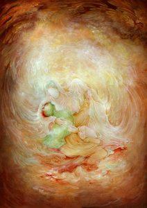 حضرت علی علیع السلام در آغوش پیامبر (ص)