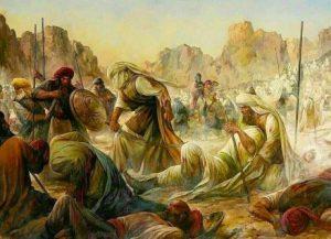 نقاشی حسن روحالامین با نام «لا فتی الا علی» که به دلاوری حضرت علی(ع) در جنگ احد