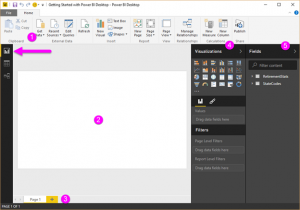 Power BI Desktop در حالت نمایشی گزارش یا Report view
